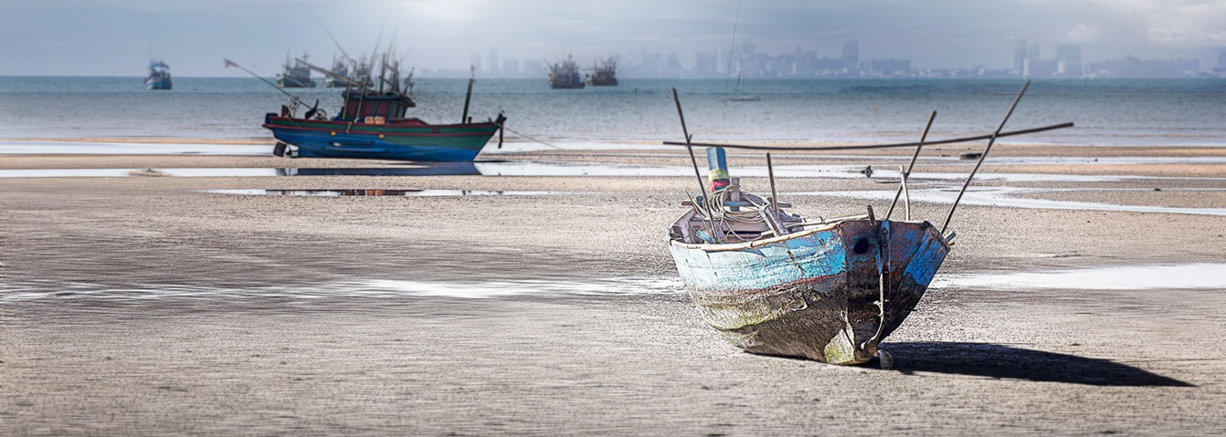 Thai Fishing Boats in Ban Ampur, Thailand
